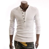 Doublju Mens Casual Long Sleeve Henley Shirts(DU15)