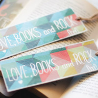 "Books, love and Rock - Gift for Couple - Bookmarks with messages ""Books, love and rock"""