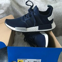"Best Online Sale Adidas NMD R1 Navy Blue White City Pack ""Paris"" S79161 Boost Sport Running Shoes Classic Casual Shoes Sneakers"