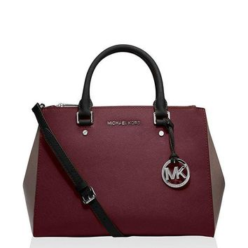 PEAPON Michael Kors Jet Set Travel Medium Sutton Handbag (Medium, Merlot/Cinder)