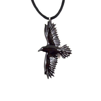 Raven Necklace, Raven Pendant, Crow Necklace, Crow Pendant, Wood Raven Necklace, Mens Raven Necklace, Native American Inspired Raven Jewelry