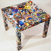 Sonic the Hedgehog Comic Collage Table  FREE SHIPPING USA