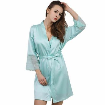 CREYIJ6 Lace sleeve sexy women nightwear robes plus size wedding kimono satin silk female bathrobes bridemaids robes 2017 vs brand hot