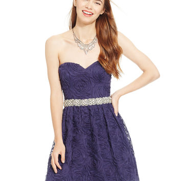 City Triangles Juniors' Embellished Soutache Floral Sweetheart Dress