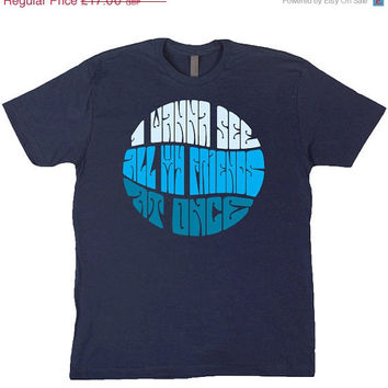 10% OFF I Wanna See All My Friends At Once - Go Bang! #5 Arthur Russell typography lyrics on Navy Blue T-Shirt