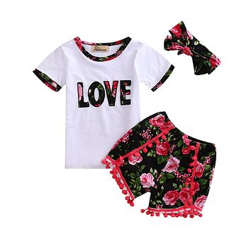 Newborn Kids Baby Girls Outfits Love T Shirt Tops+ Tassel Short Pants +Headband Clothes Set