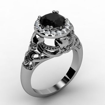 Skull Engagement Ring 14 K White Gold