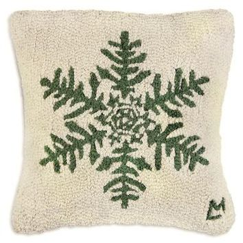 "Forest Flake Hooked Wool Pillow 18""W"