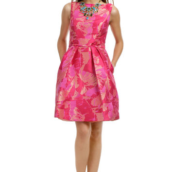 Theia Fuchsia Palm Party Dress