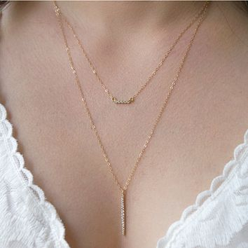 Gold Bar Necklace Set