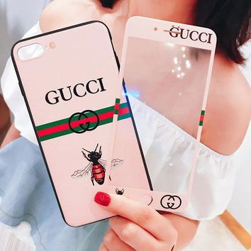 GUCCI Fashion Luxury Supreme Sliver Mirror Case For iPhone 7 7Plus 6 6s 6Plus 6s Plus+Toughened membrane Pink