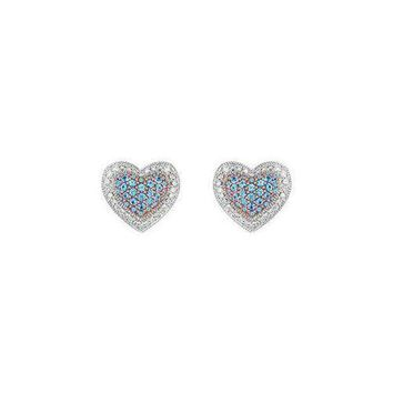 VOND4H Blue Topaz and Diamond Heart Earrings : 14K White Gold - 1.50 CT TGW