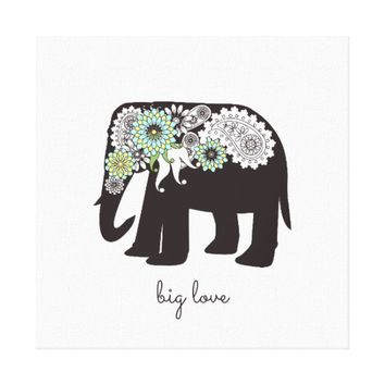 Big Love - Paisley Elephant Girly Chic Canvas Print