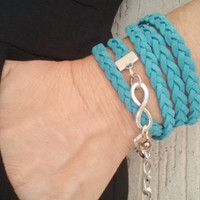 Teal Braided Friendship Bracelet/ Silver Brass Infinity Charm/ Teal Faux Suede/ Infinity Eternity Bracelet/ Wrap Bracelet/ Hippie Bracelet