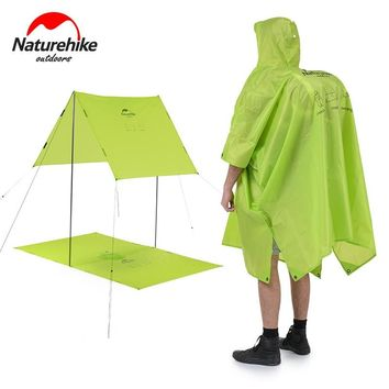 Naturehike outdoor raincoat Windbreaker 3in1 Multifunction jacket Camping & Hiking waterproof poncho nylon Travel Awning Mat