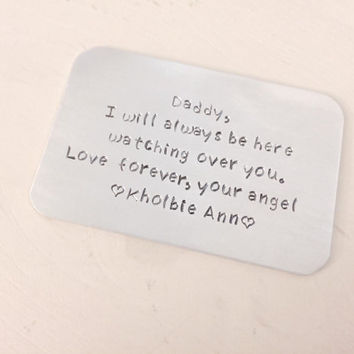 Infant Child Loss, Memorial Card, Miscarriage, Pregnancy Loss, Stillborn, Personalized Wallet Card, Father's Day, Dad, Aluminum Card