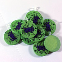10 Goofy Purple Spiders on Green Wooden Discs - Pendants - Jewelry Supply - Kids Crafts - Halloween Crafts