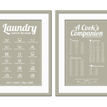 Cooking Measurements Conversions & Laundry Symbols Posters - 12x18 Art Prints  - Typography Poster - Kitchen and Laundry Room