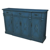 Everett 3 Drawer / 4 Door Breakfront Royal Blue Wood Sideboard By Crestview Collection Cvfzr1837