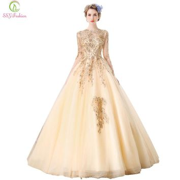 Champagne Gold Lace Evening Dress Bride Banquet Elegant 3/4 Sleeve Embroidery with Beading Long Tail Party Prom Dress