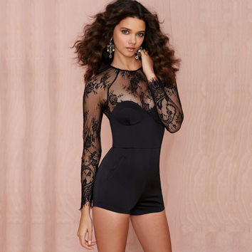 Black Bodycon Mesh Upper and Sleeve Romper