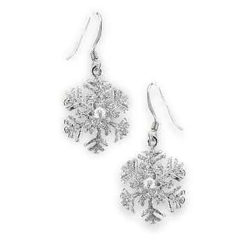 Silver Sparkly Snowflake Earrings