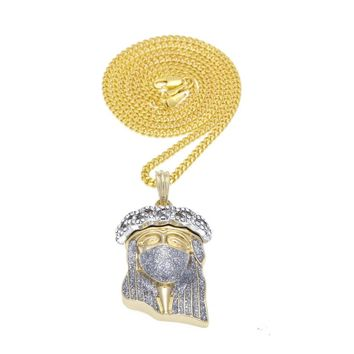 Iced-Out Gold Plated Jesus Piece Pendant and Chain
