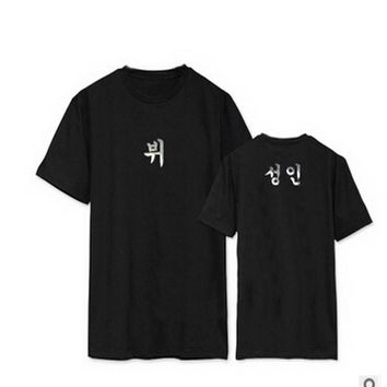 VXO 2017 KPOP  Bangtan woman t-shirt top JIMIN JUNGKOOK Cotton Popular Kpop Tee Shirts women WINGS
