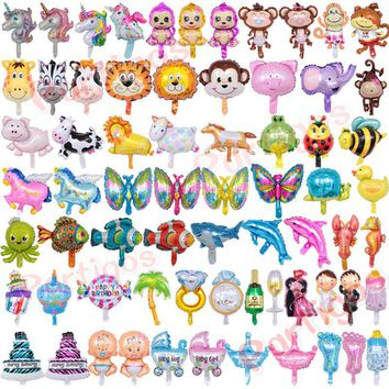 50pcs/lot Mini Animal Unicorn Princess Cake Foil balloons Baby Shower Birthday Party Tiger Cow Head Air Flamingos Balloon Decor
