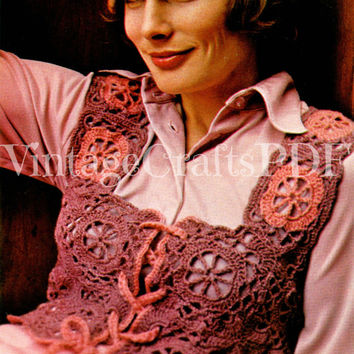 70s Crochet Vintage Pattern | Granny Square Victorian Vest |easy retro boho hippie romantic mid century bolero lacy feminine|Direct from USA