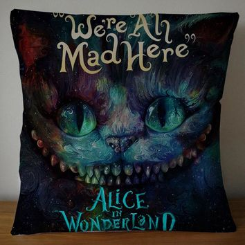 2 Sides alice in wonderland through the looking glass Square Pillowcase Soft Zippered Throw Pillow Cover Cushion Case