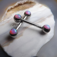 Opal Nipple Barbell Ring 14g Pair Silver Pink Opals Body Piercing Jewelry Pierced Nipples Straight Bars Piercings Stainless Steel Barbells