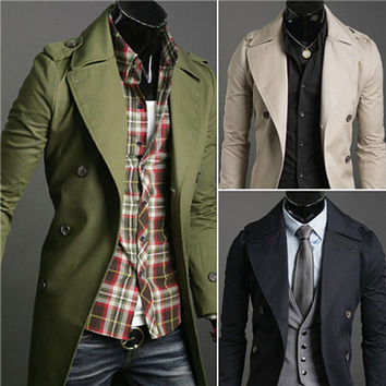 Double Breasted Men Fashion Trench Coat with Belt