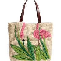 Nordstrom Flamingo Packable Woven Raffia Tote | Nordstrom