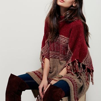 Red Loose Fringe Cloak  Sweater