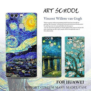 Starry Night Van Gogh Design Painted phone case for huawei p9 plus p9 p8 lite mate 9 pro mate 8 7 soft silicone cover hard case