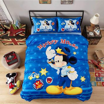 Flannel Mickey mouse comforter bedding set twin full queen 4/5pcs bed sheet Disney cartoon kids adult warm bedcover home textile