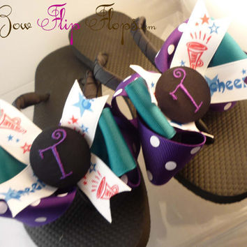 Cheer Flip Flops Cheerleader Cheerleading Bow Number or any team or any team Mom Girl Sports ribbon colors Hockey Stick Puck