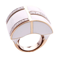 David Webb gold and white enamel ring set with diamonds