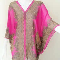 Beach Cover up bikini Hippie Boho Summer Tunic Caftan Pink Gypsy Top dress Kimono Butterfly sleeve plus size L- 4X 14-26