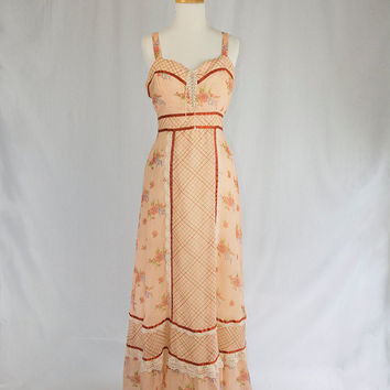 Vintage 1970's Maxi Dress Prairie Corset top Boho Hippie Dream
