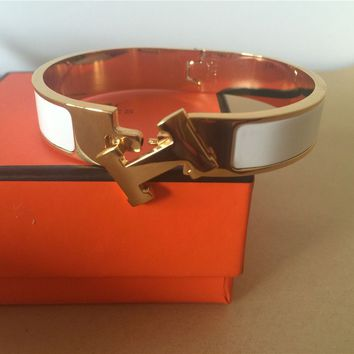 NEW Hermes White narrow Clic Clac H Bangle Gold hardware Bracelet size pm