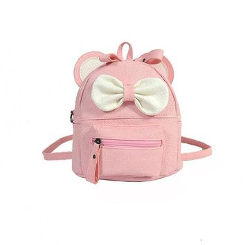 School Backpack trendy New girl shoulder bag Cartoon backpack dual-use small Diagonal School bag children cute bow small backpack mochilas escolares AT_54_4