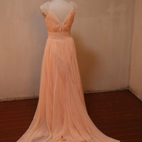 Pink beaded chiffon long bridesmaid prom dresses,evening dresses,party dress,bridesmaid dress,prom dress,party dresses,long party prom dress