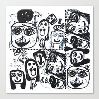 Funny Face | Pop Art | Black and White Canvas Print by Azima
