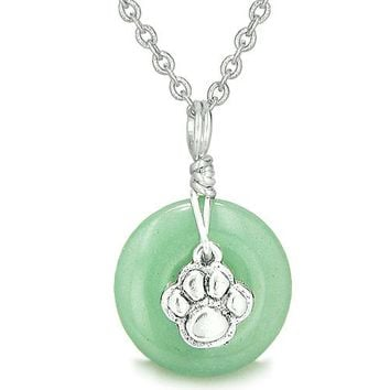 Small Wolf Paw Lucky Amulet Silver Gemstone Aventurine Donut Courage Positive Pendant Necklace