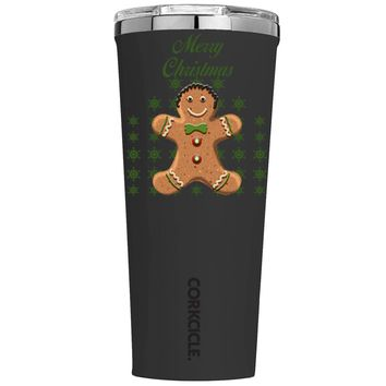 Corkcicle Merry Christmas Gingerbread Man on Black 24 oz Tumbler Cup