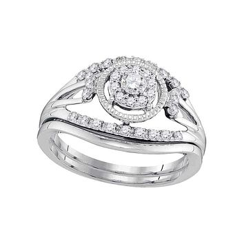 10kt White Gold Women's Round Diamond Openwork Antique-style Bridal Wedding Engagement Ring Band Set 1/3 Cttw - FREE Shipping (US/CAN)