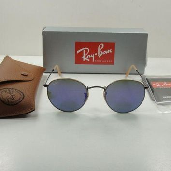 Kalete RAY-BAN ROUND METAL SUNGLASSES RB3447 167/1M BRONZE/VIOLET MIRROR LENS 50MM