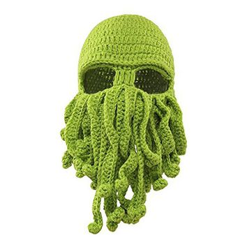 Hot style pure hand woven octopus wool balaclava hat warm bonnet homme Comfortable casual  cute hats